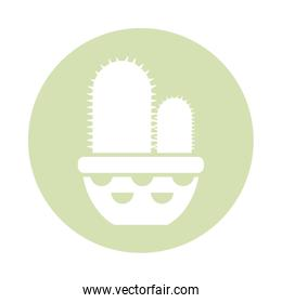cactus with potted, block and flat style icon