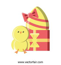 chick with gifts and easter egg on white background