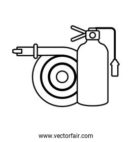 fire extinguisher with water hose on white background