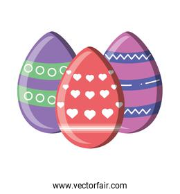 Easter eggs decorated on white background