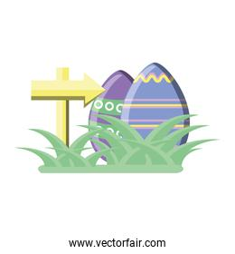 easter eggs with arrow in white background