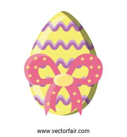 Easter egg decorated on white background