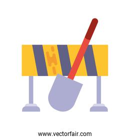 safety barrier with shovel on white background