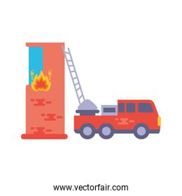 fire truck with building in white background