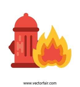 fire hydrant with fire flame cone on white background