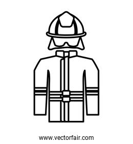 firefighter suit on white background