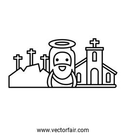 church with jesus in white background