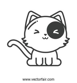 cute cat on white background, line style icon