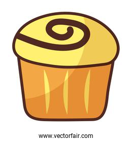 delicious cupcake on white background