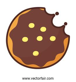 chocolate cookie on white background