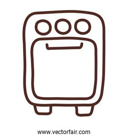 stove with oven, line style icon