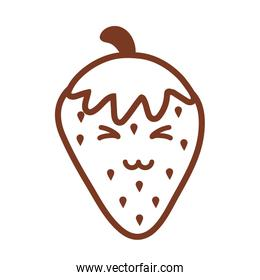 fresh and delicious strawberry , line style icon