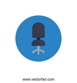 Isolated office chair flat block style icon vector design