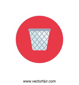 Isolated trash flat block style icon vector design