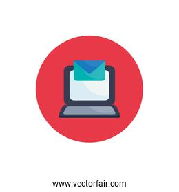 Isolated laptop flat block style icon vector design