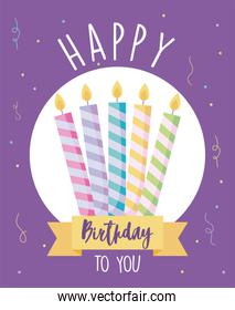 happy birthday design with birthday candles over purple background