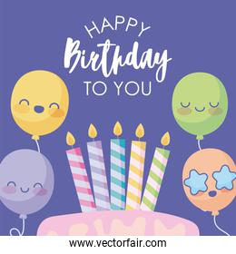 Happy birthday design with cute cartoon balloons and birthday cakes over purple background
