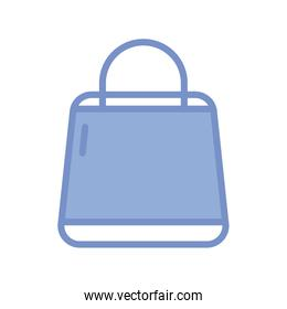 shopping bag icon, blue outline style