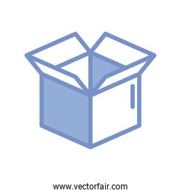 opened box icon, blue outline style