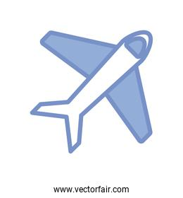 airplane icon, blue outline style