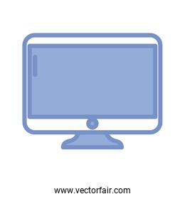 computor monitor icon, blue outline style