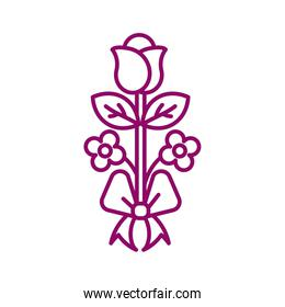 rose with leaf, line style icon