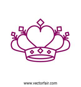 cute crown on white background, line style icon