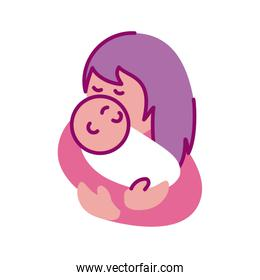 mother with baby, half line and color style icon