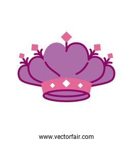 cute crown on white background, half line and color style icon