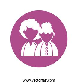 grandmother and daughter woman, silhouette style icon
