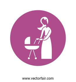 woman with baby in baby stroller, silhouette style icon