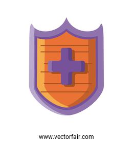 shield with cross on white background