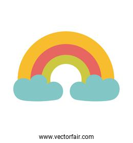 rainbow with clouds over white