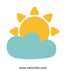sun with cloud on white background