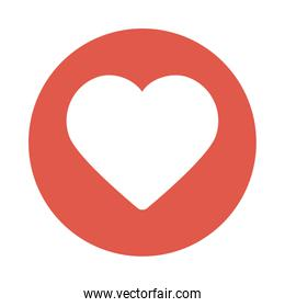 cute heart red , block and flat style icon