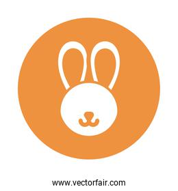 head of cute rabbit , block and flat style icon