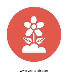 flower with leaf , block and flat style icon