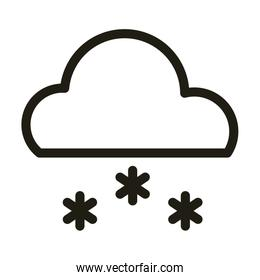 cloud with snow, line style icon