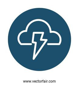 cloud with lightning, block and flat style icon