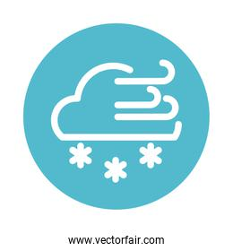clouds with wind and snow, block and flat style icon