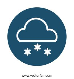 cloud with snow, block and flat style icon