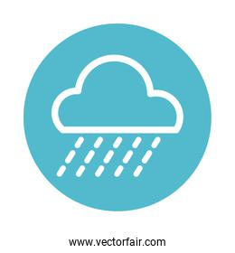 clouds with rain, block and flat style icon