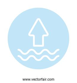 sea waves with up arrow, block and flat style icon