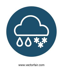 cloud with rain and snow, block and flat style icon
