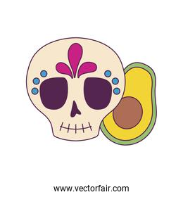 Isolated mexican skull and avocado vector design