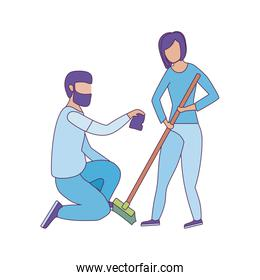 Avatar man and woman with rake vector design