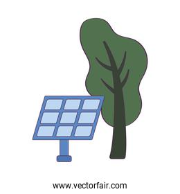 Isolated solar panel and tree vector design