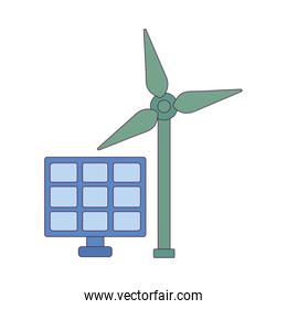 Isolated solar panel and wind mill vector design
