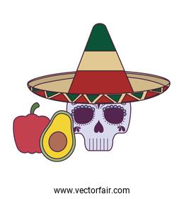 Isolated mexican skull avocado and pepper vector design