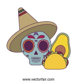Isolated mexican skull and taco vector design